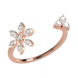 Rose Gold Flower Shape Diamond Ring