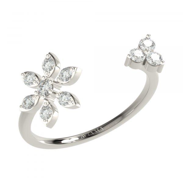 White Gold Flower Shape Diamond Ring