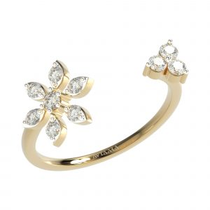 White Gold Flower Shape Diamond Ring