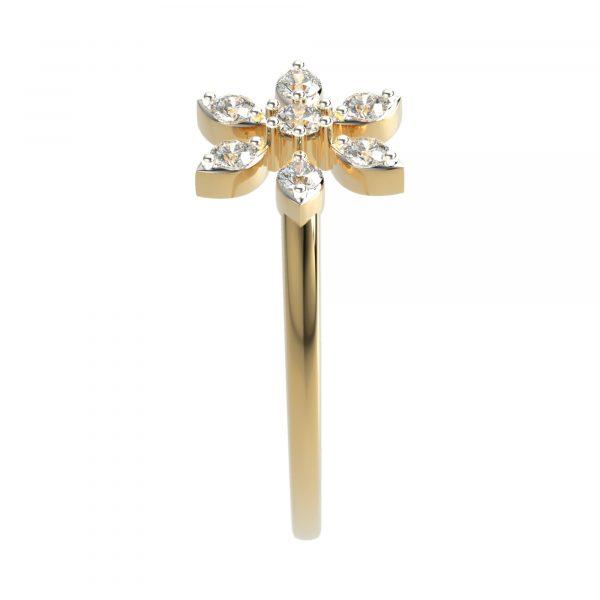 Yellow Gold Flower Shape Diamond Ring