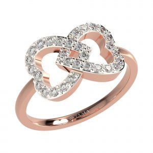 Rose Gold Heart Diamond Ring