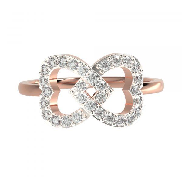 Rose Gold Heart Diamond Ring