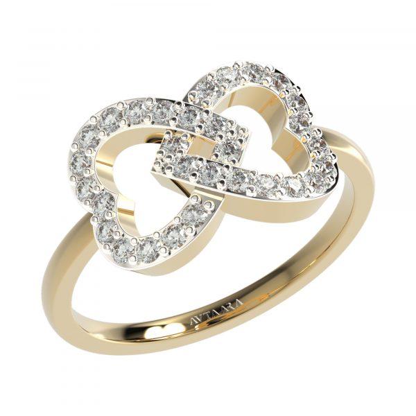 Yellow Gold Heart Diamond Ring