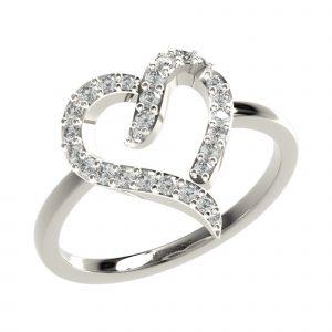 White Gold Heart Shape Ring