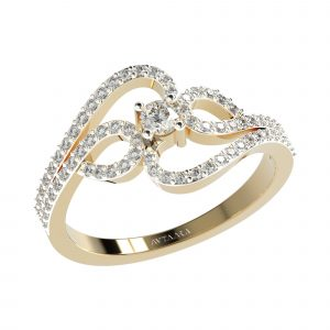 Yellow Gold Diamond Ring For Women