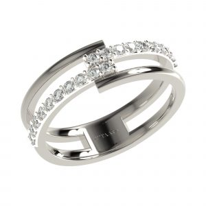 White Gold Modern Ring