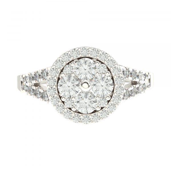 Diamond Studded White Gold Ring