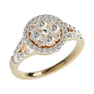 Diamond Studded Yellow Gold Ring