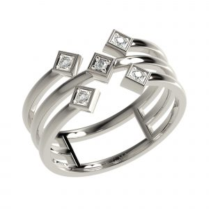 White Gold Layered Ring