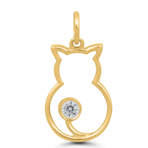 yellow gold cat pendant