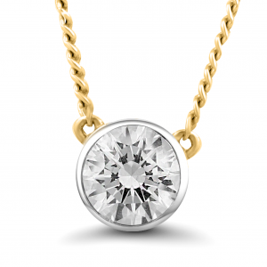 yellow gold stud diamond necklace