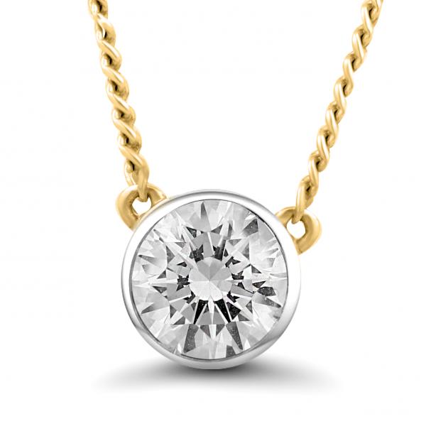yellow gold stud diamond necklace
