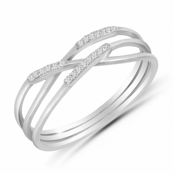 white gold 3 layer ring