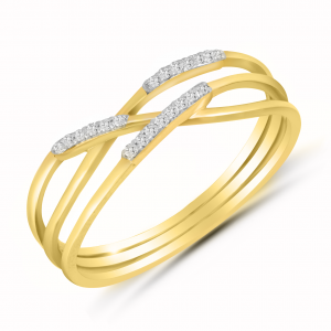 yellow gold 3 layer ring