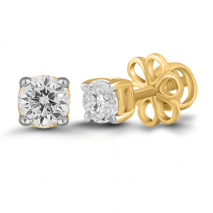 yellow gold solitaire stud earrings