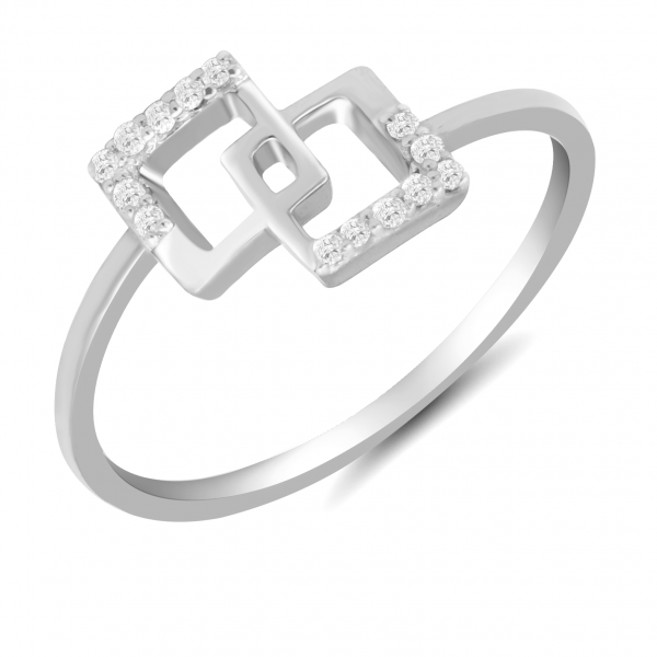 white gold cube ring