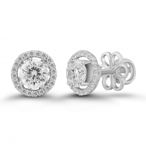 white gold solitaire halo earrings