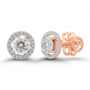 rose gold solitaire halo earrings