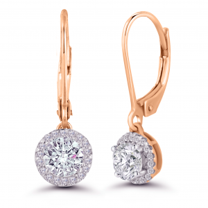 rose gold dangling diamond earrings