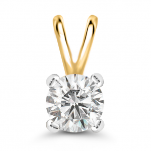 yellow gold solitaire diamond pendant