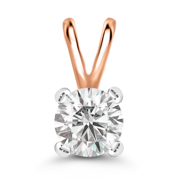 rose gold solitaire diamond pendant