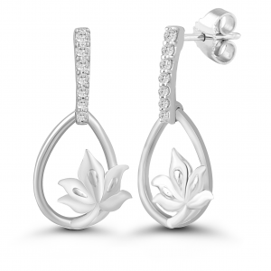white gold dangling earrings