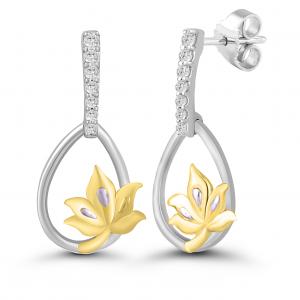 yellow gold dangling earrings