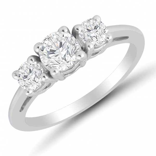 white gold three stone ring