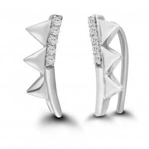 white gold pyramid earrings