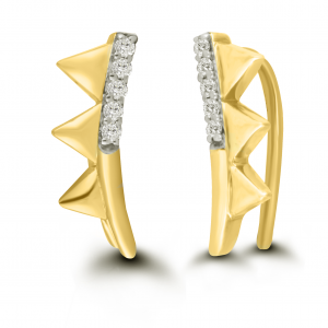 yellow gold pyramid earrings