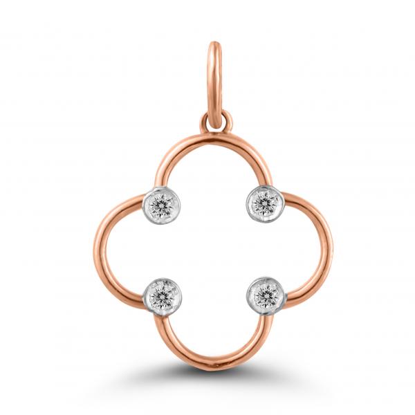 rose gold clover pendant
