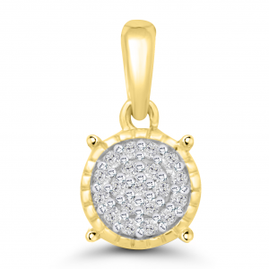 yellow gold round pave pendant