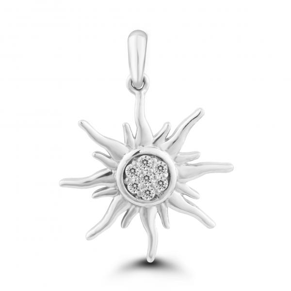white gold sun pendant