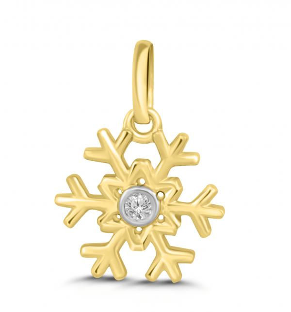 yellow gold snowflake pendant