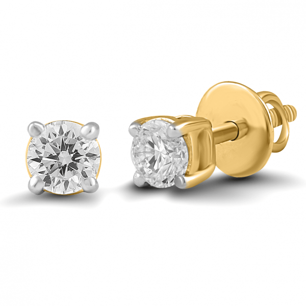 yellow gold solitaire earrings