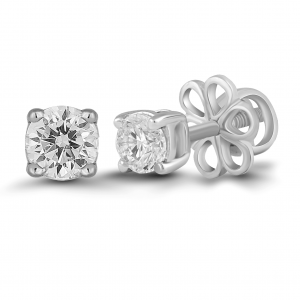 white gold solitaire stud earrings