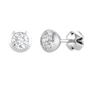 Bezel Gold earrings| 0.25ct | White
